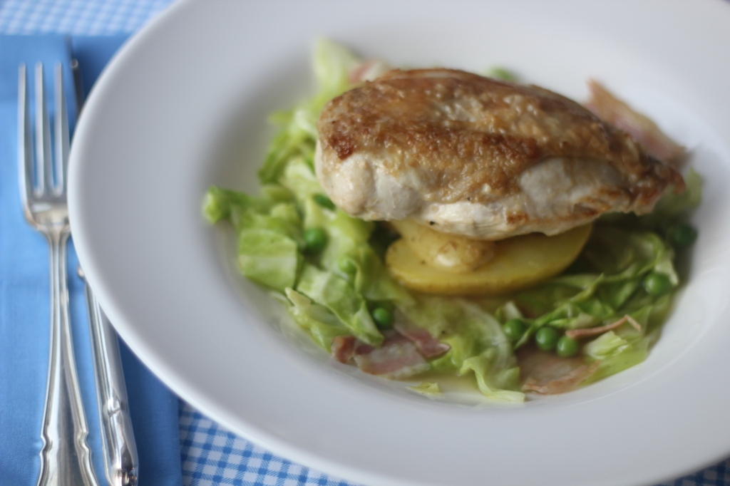 Roast chicken with York Cabbage, Pea & Pancetta Broth