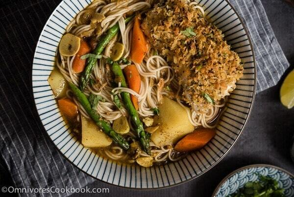 Oven Fried Fish Curry Noodle Soup