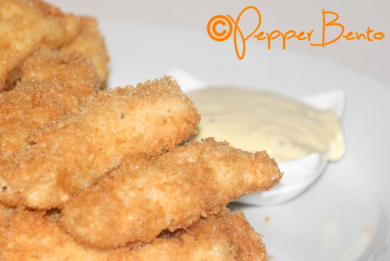 Home made Crispy Fish Fingers with Black Pepper Mayonnaise Recipe!