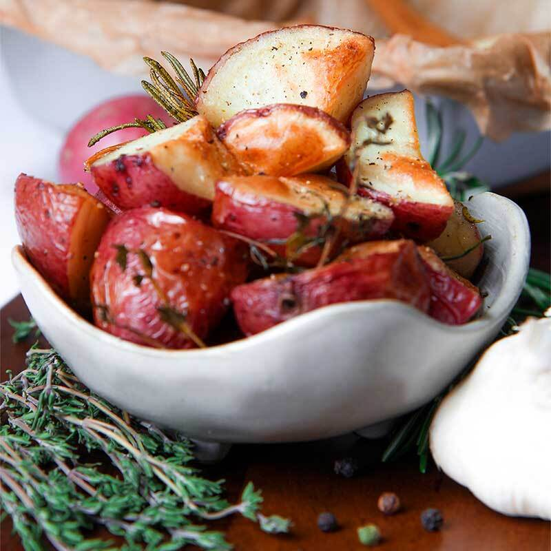 ROASTED POTATOES with butter, garlic and herbs