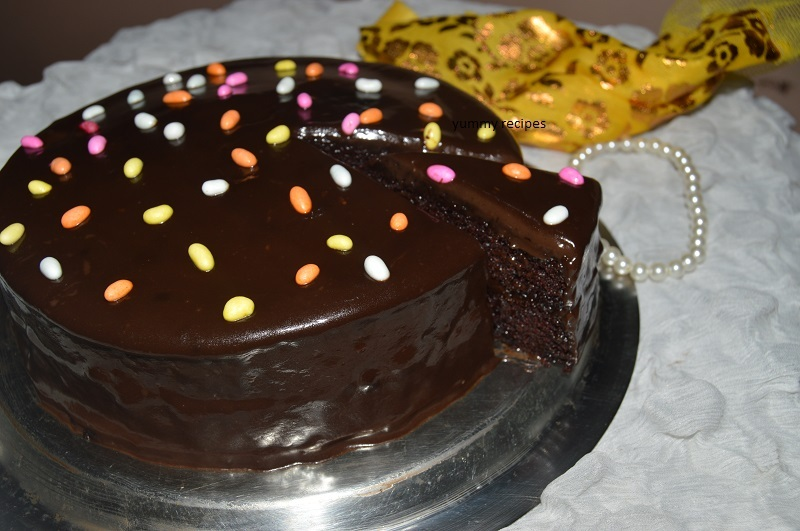 Rich chocolate truffle cake with chocolate frosting