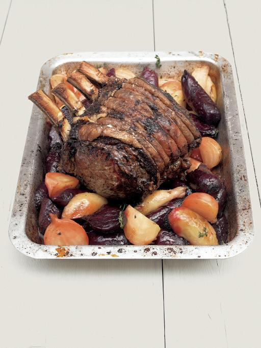 Roast fore rib of beef with beetroot & horseradish