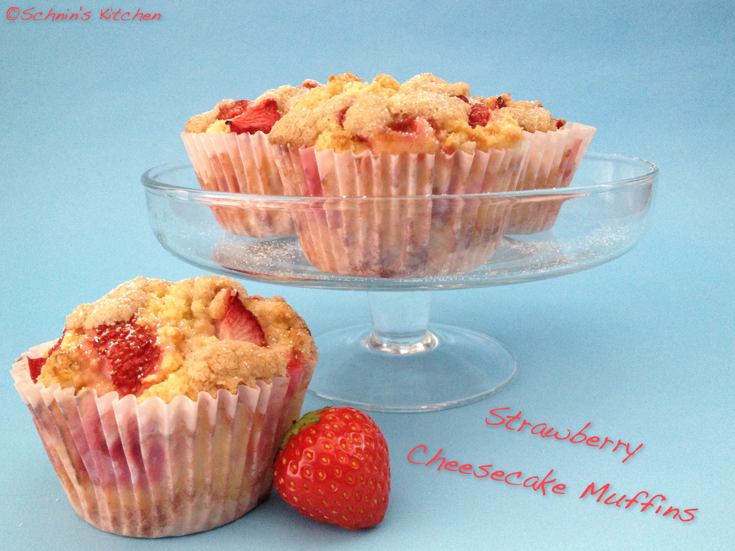 Strawberry Cheesecake Muffins mit Zimt-Streuseln