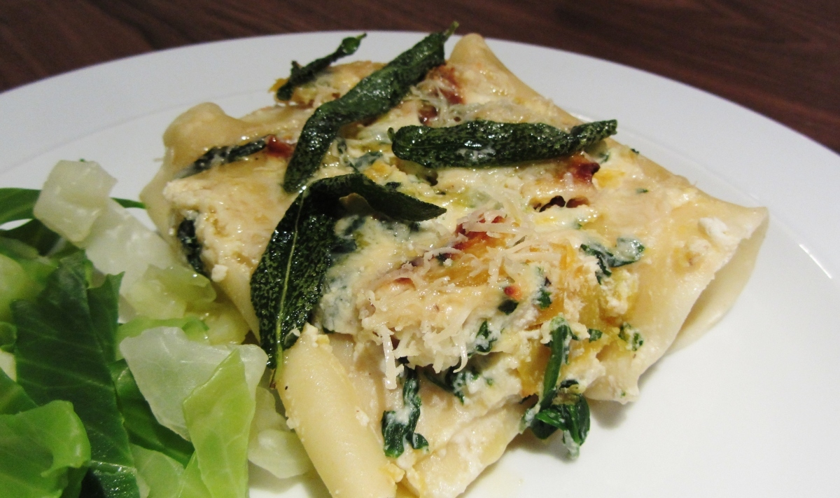 Butternut Squash and Spinach Stuffed Pasta with Sage Brown Butter