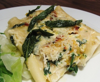 Stuffed marrow recipes for Pumpkin cannelloni with sage brown butter sauce