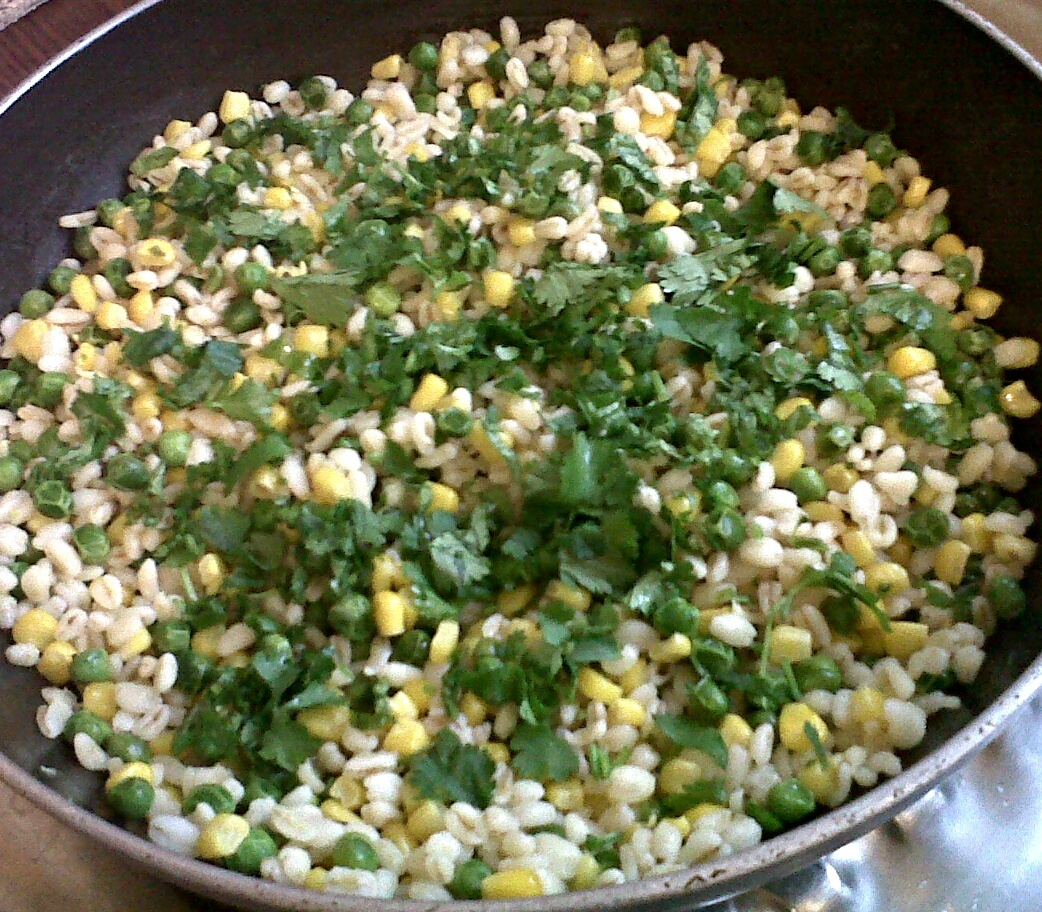 A Warm Sweetcorn & Garden Pea Ebly Salad