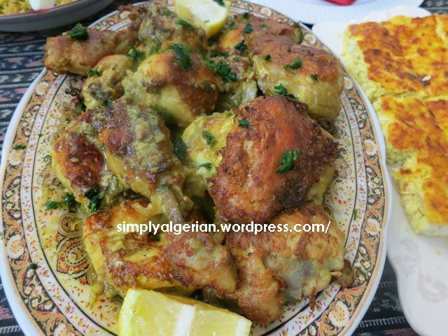 Yahny /Algerian tajine of  fried chicken
