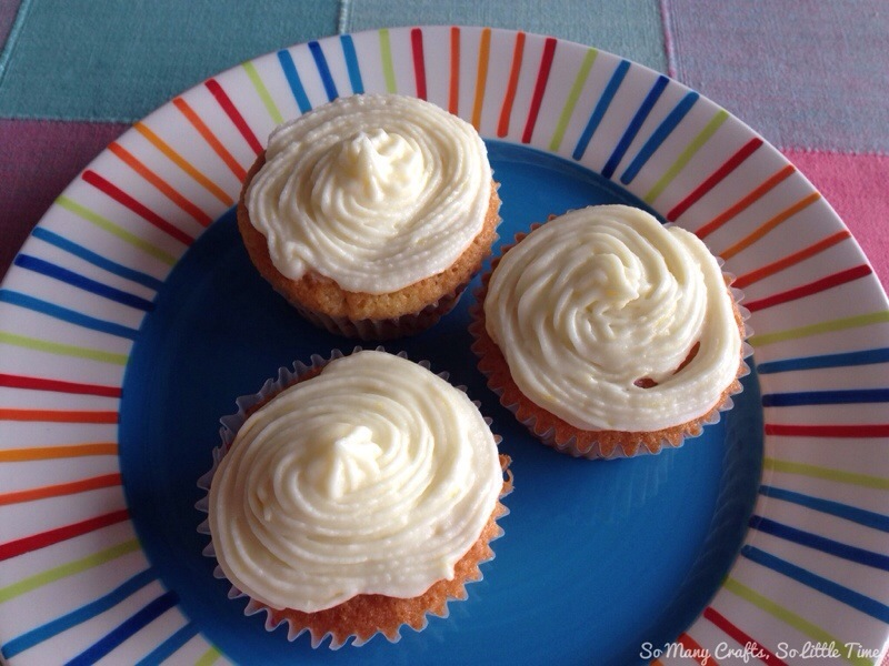 Lemon cupcakes with raspberry curd filling