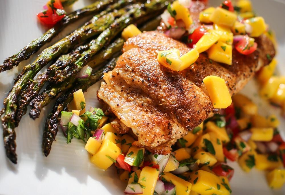 Masala Rubbed Halibut with Mango Salsa