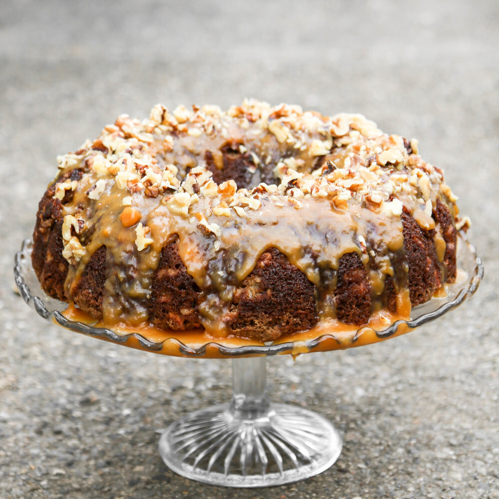 Apple Walnut Bundt Cake with Caramel Glaze