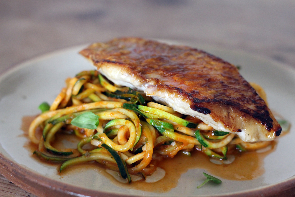 Red Mullet with Courgette 'Puttanesca'
