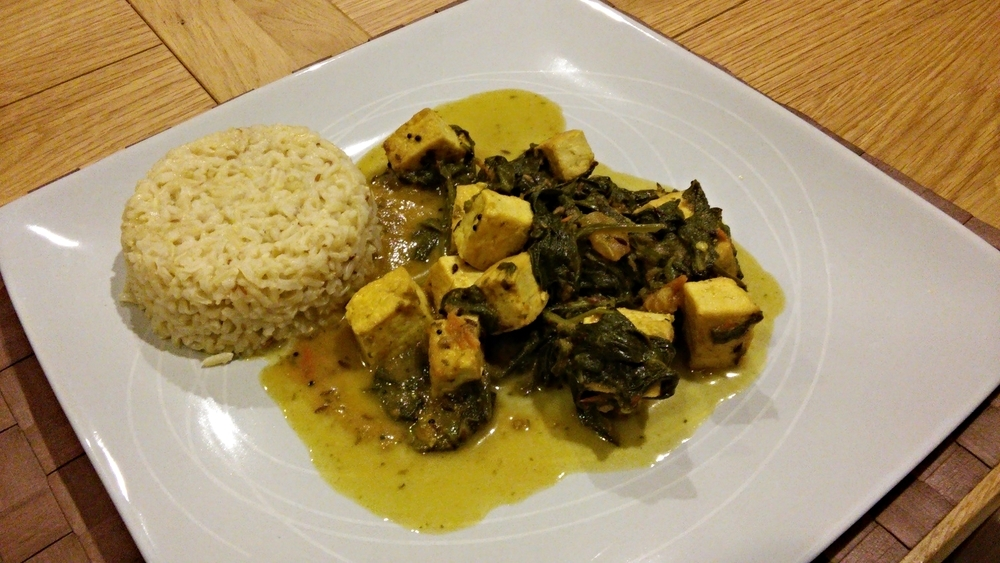 Recipe: Palak Paneer with Jeera Rice Veganised