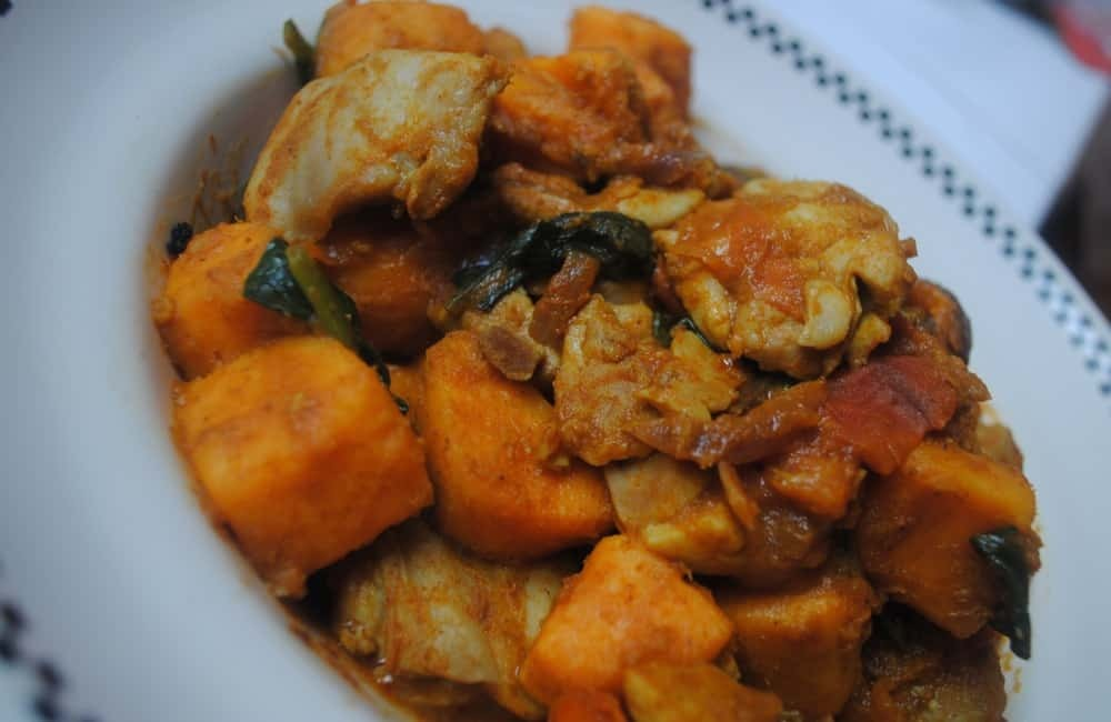 Chicken and sweet potato curry student recipe