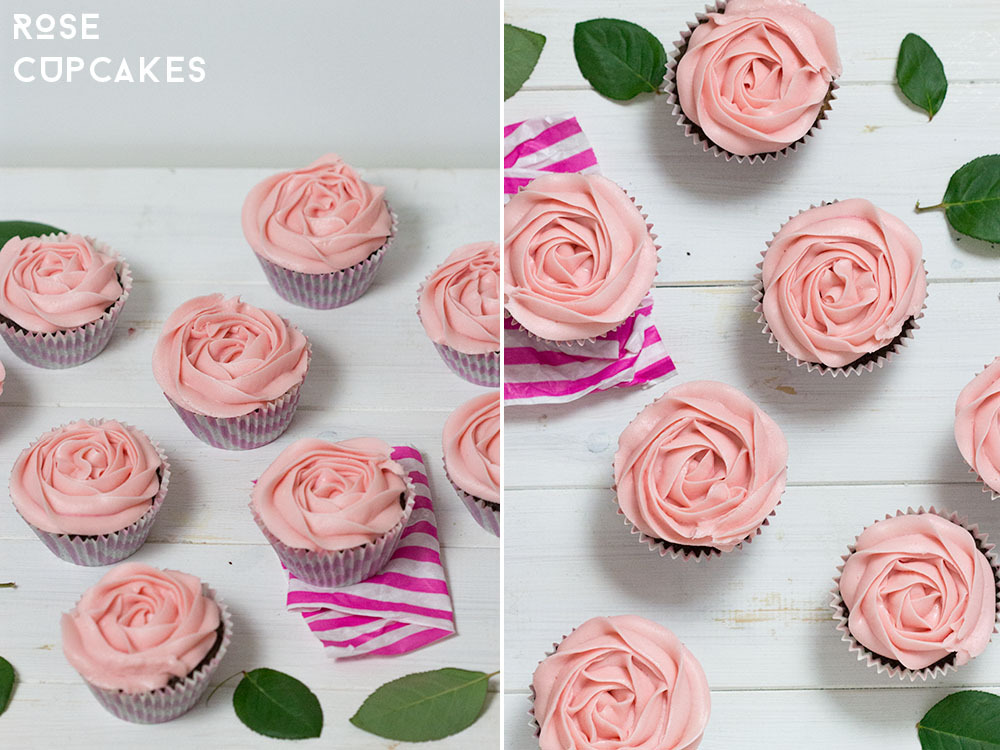 Rose buttercream icing on chocolate cupcakes