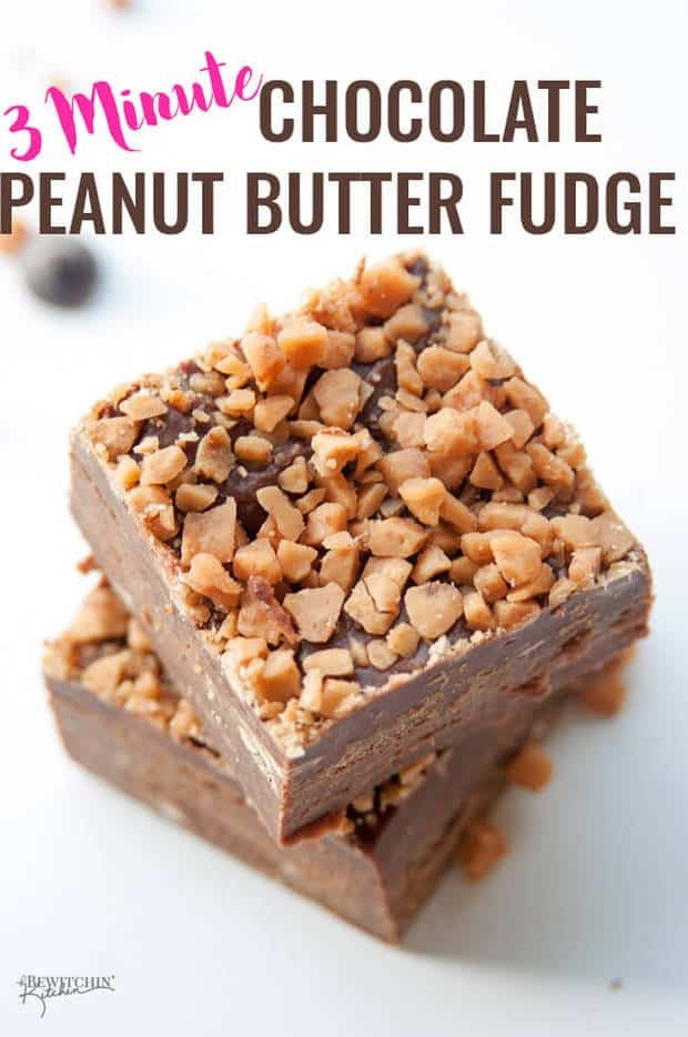 Chocolate Peanut Butter Fudge with Crunchy Toffee Topping