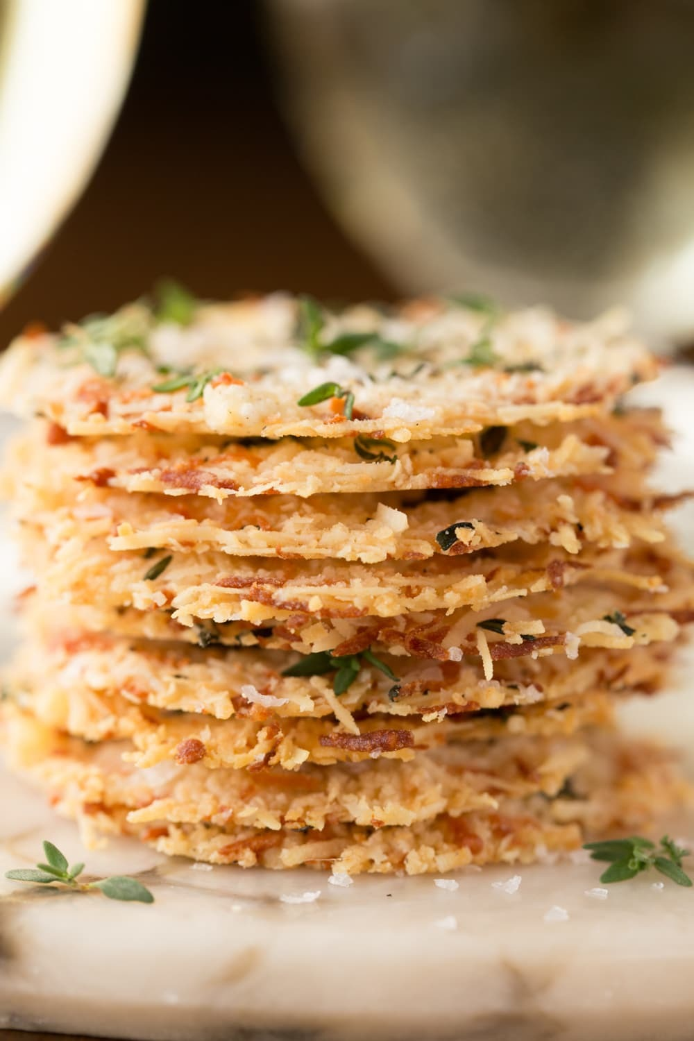 Parmesan Crisps with Thyme and Sea Salt