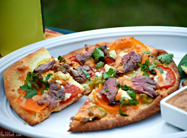 FAST! Beef Tenderloin and Tomato Pizza with Ancho Crema
