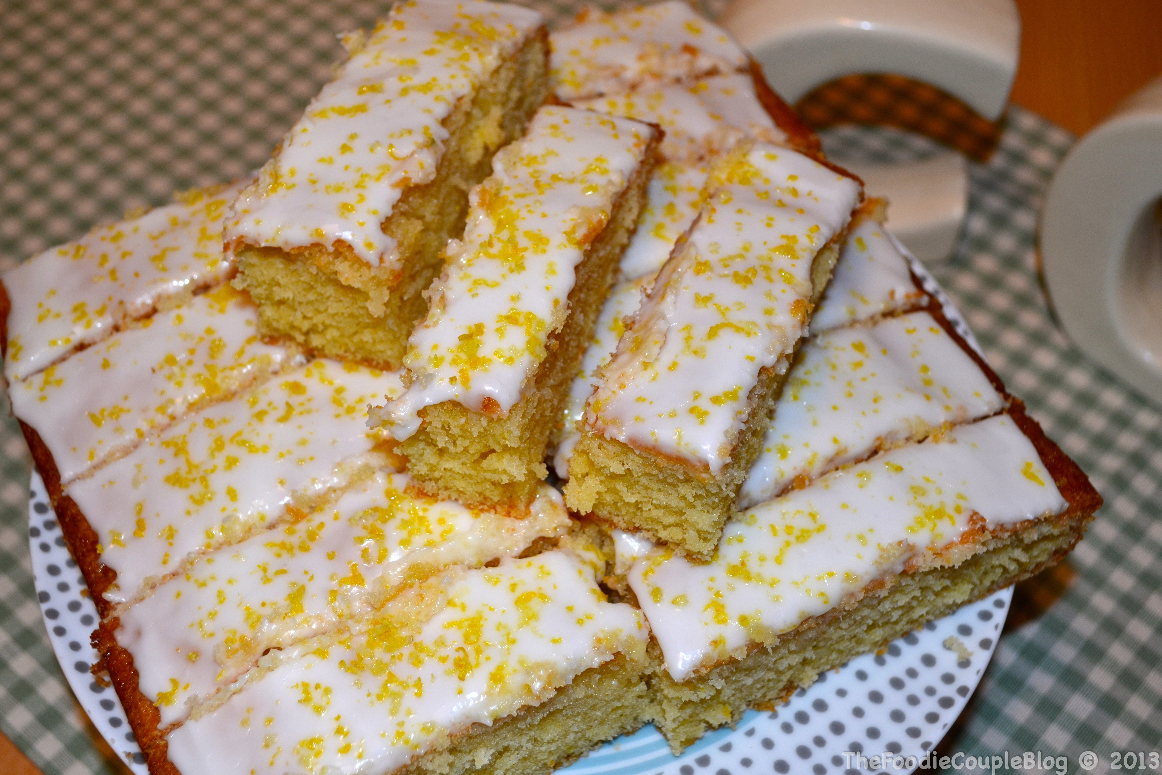 iced lemon and coconut traybake
