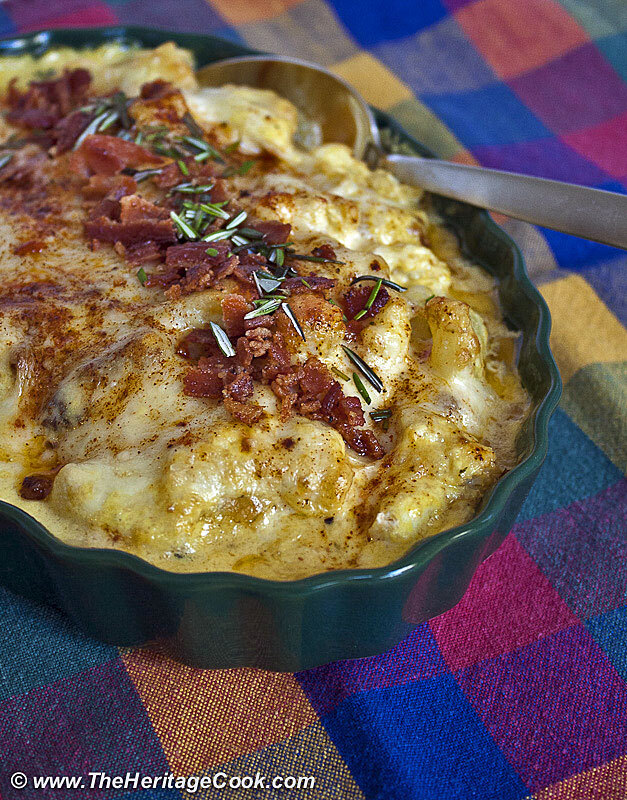 Cheesy Cauliflower Gratin with Saffron Cream Sauce for Thanksgiving!