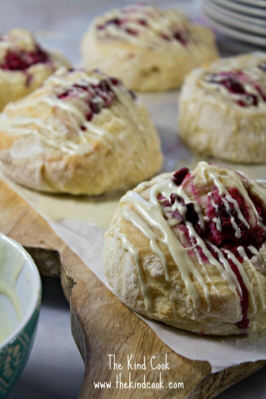 Pinwheel Scones with Coconut, Raspberry & White Chocolate