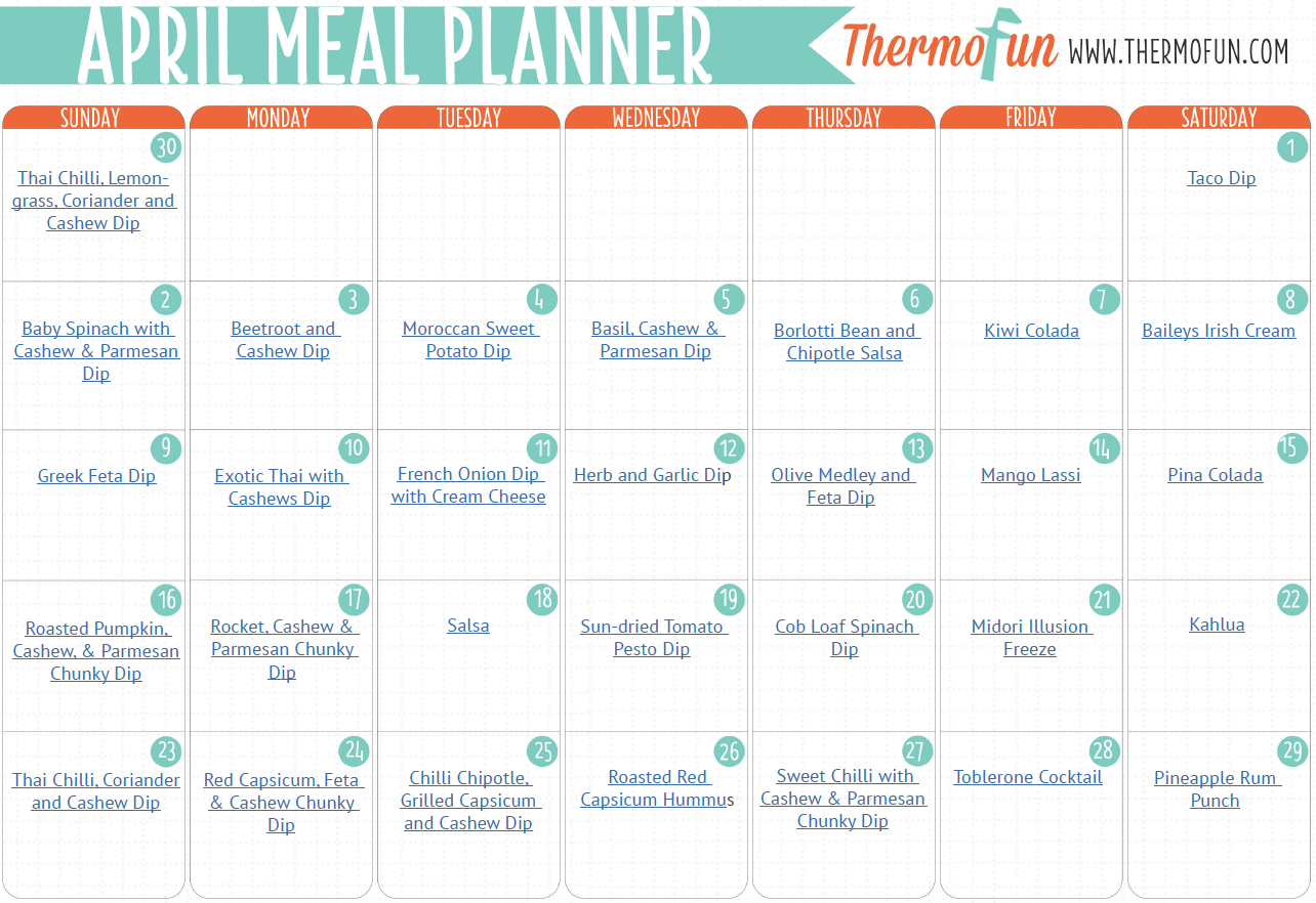 ThermoFUN FREE April Meal Plan