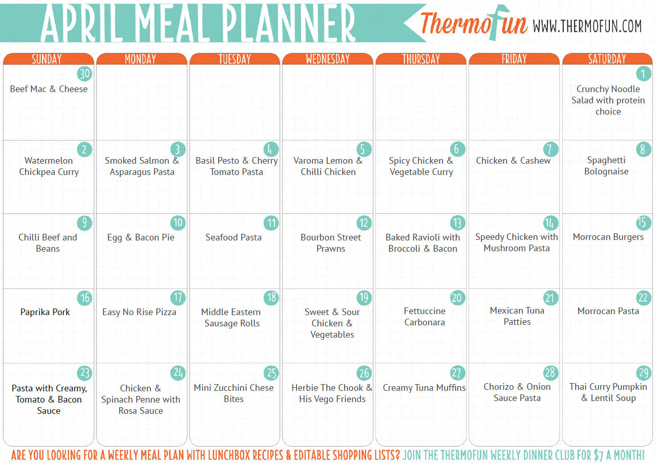 ThermoFun FREE April 2017 Meal Plan – Real One :D
