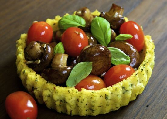 Polenta Baskets with Garlic Mushrooms and Tomatoes