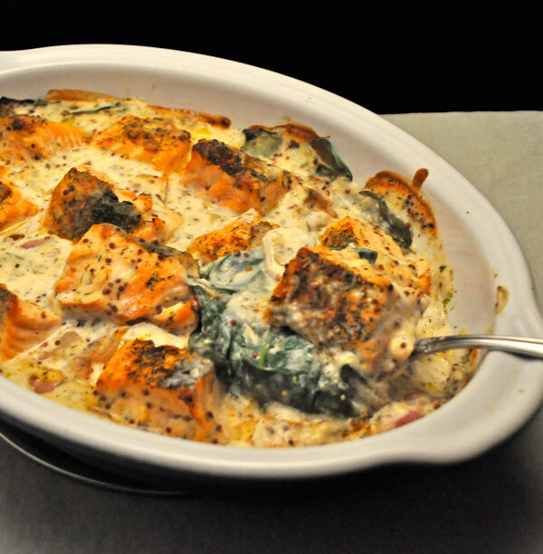 Baked Salmon Florentine, in the style of…