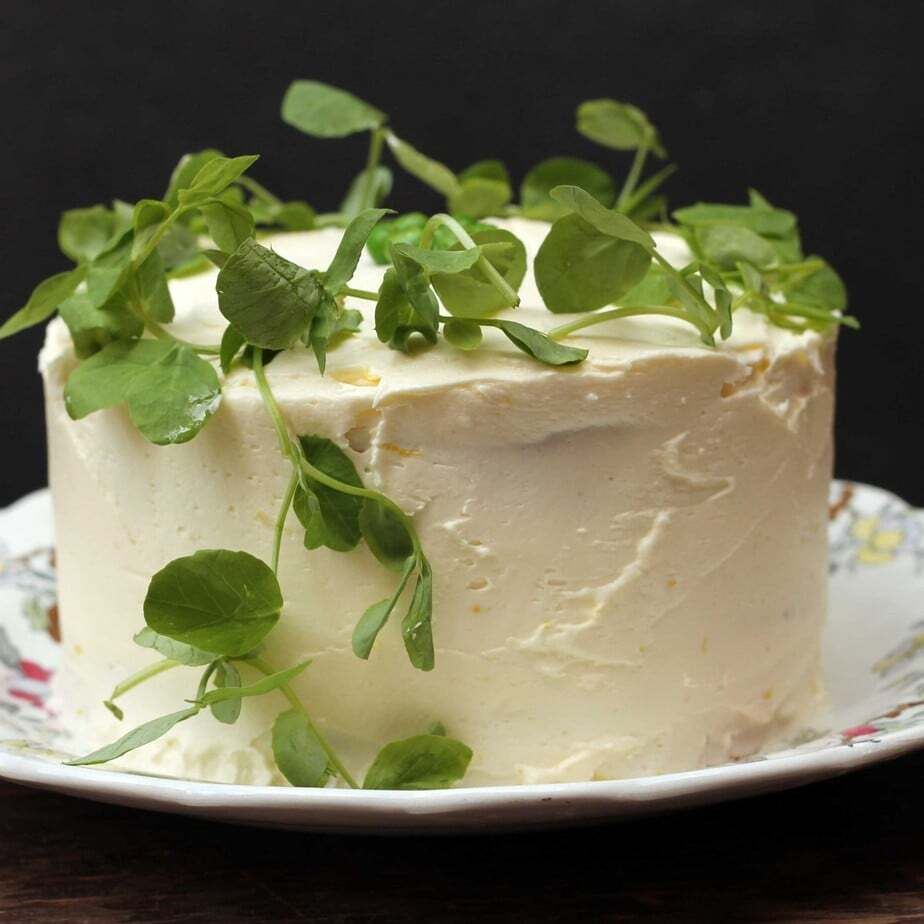Pea and Vanilla Cake with Lemon Icing and Pea Shoots