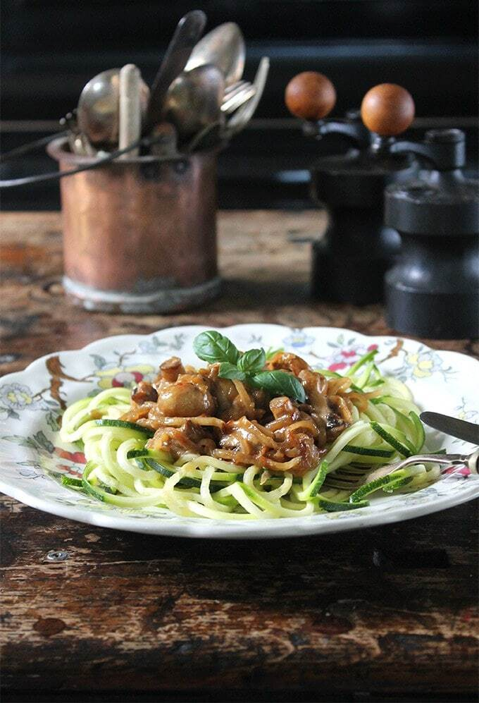 Miso Roasted Mushrooms with Courgetti