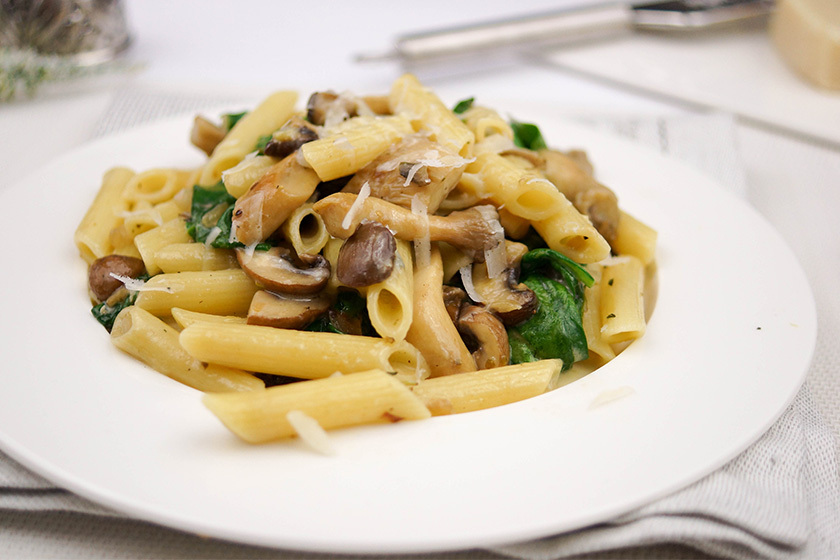 Pasta in a Gorgonzola Sauce with Spinach, Mushrooms and Fresh Herbs