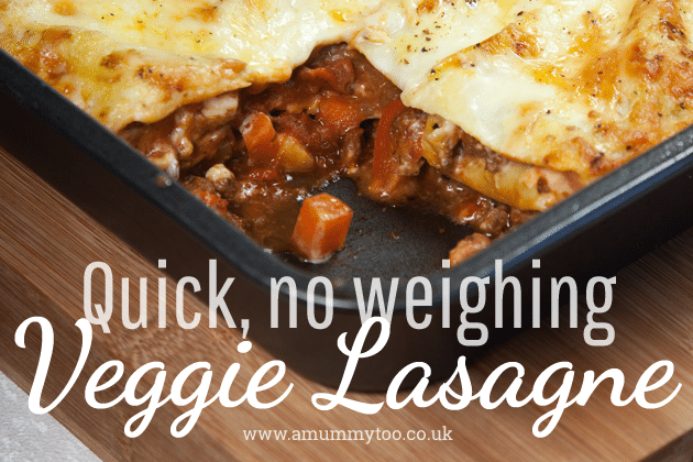 Quick veggie lasagne – no weighing required!