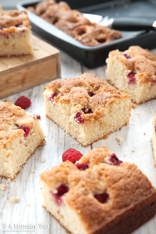 Raspberry and white chocolate traybake