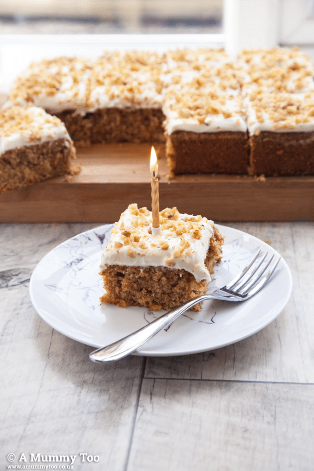 Perfect, simple carrot cake tray bake with cream cheese frosting