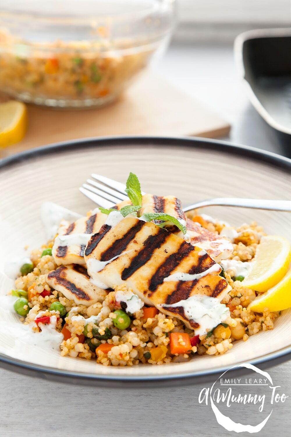 Grilled halloumi vegetable couscous with a yoghurt mint dressing