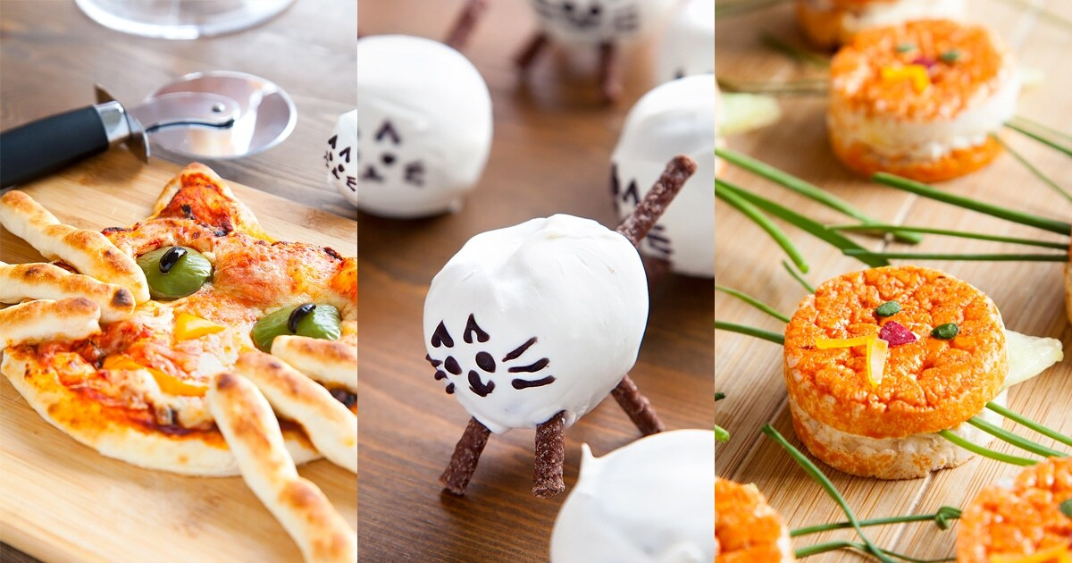 A cat themed party with kitten-like sandwiches, happy cat pizza and kitty cat cake pops