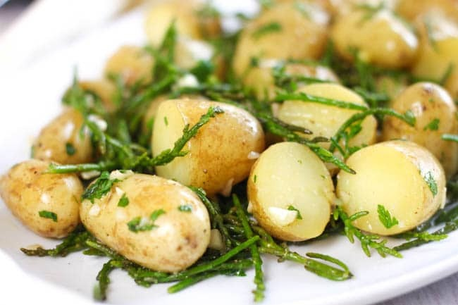 Hot and buttery samphire potato salad