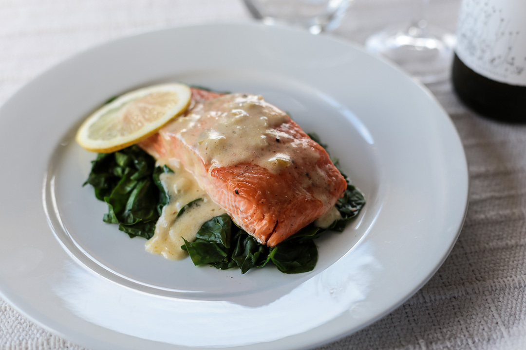 Salmon and Wilted Spinach with Cream Sauce