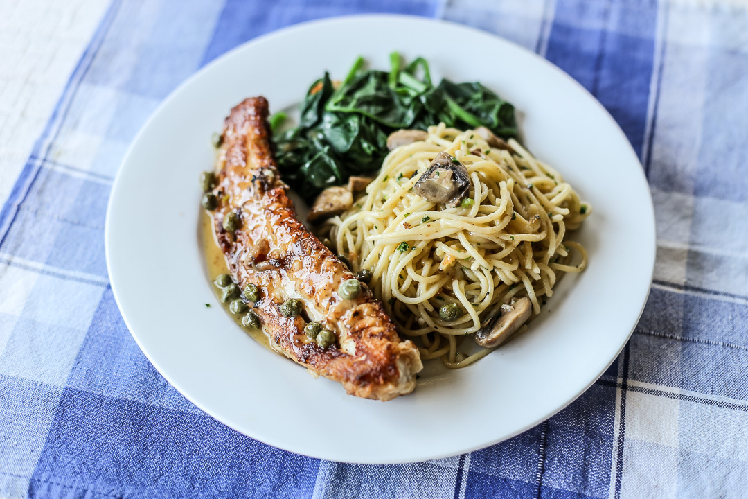 Fish Piccatta with Thin Pasta and Wilted Spinach
