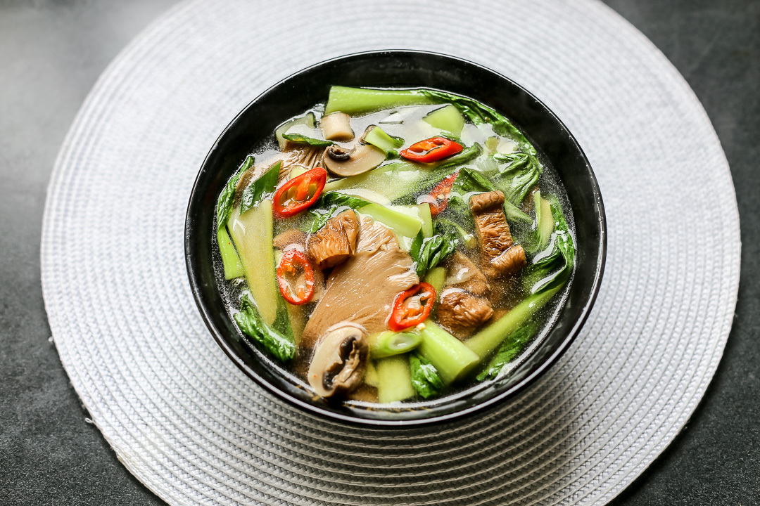 Hot and Sour Mushroom Soup with Bok Choy