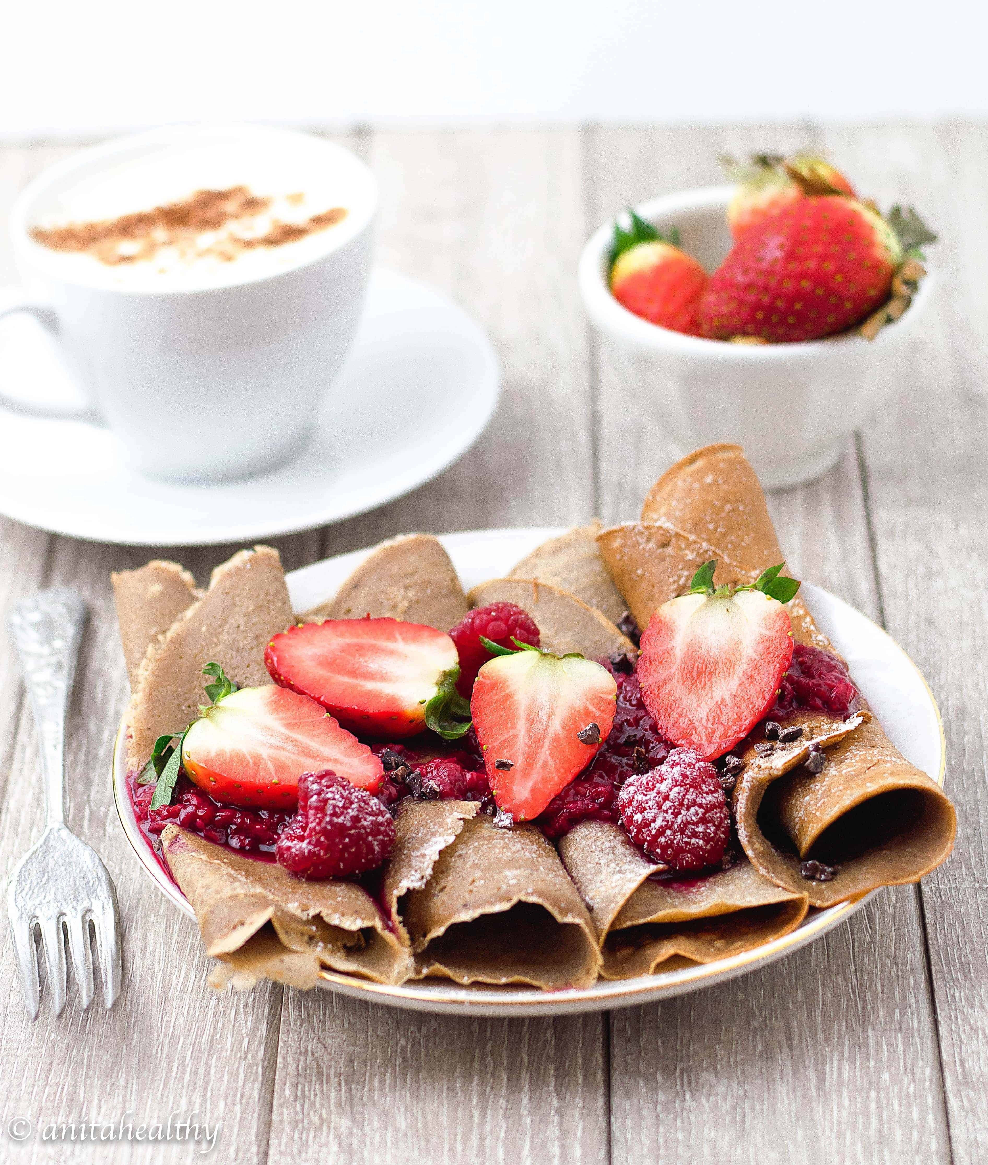 Crepes de Chocolate com Framboesas