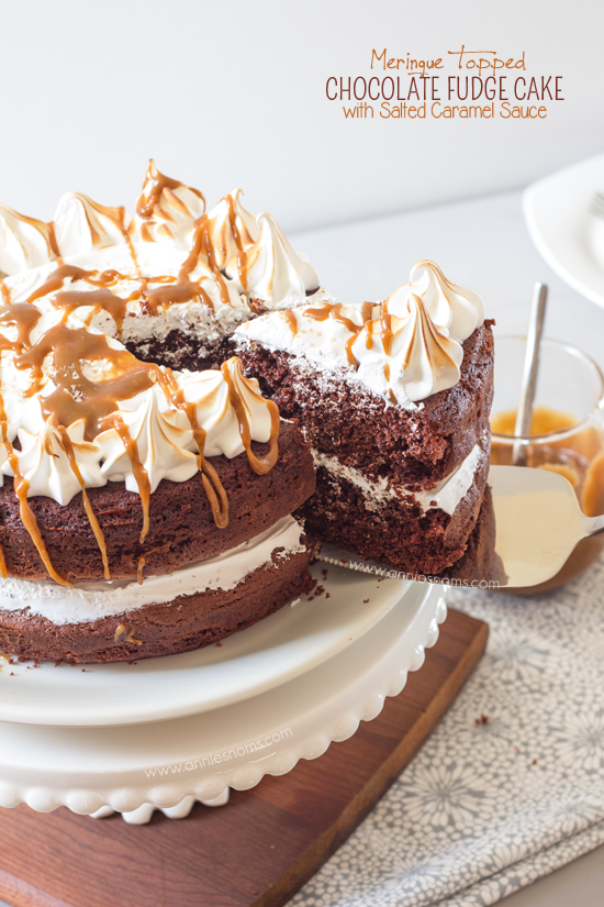 Meringue Topped Chocolate Fudge Cake with Salted Caramel Sauce