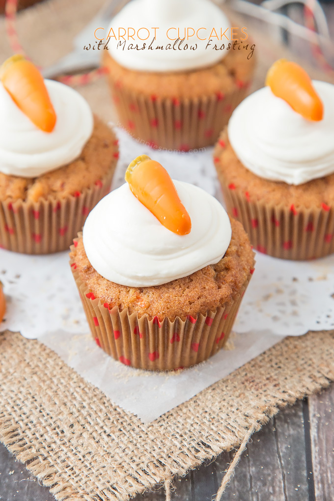 Carrot Cupcakes with Marshmallow Frosting