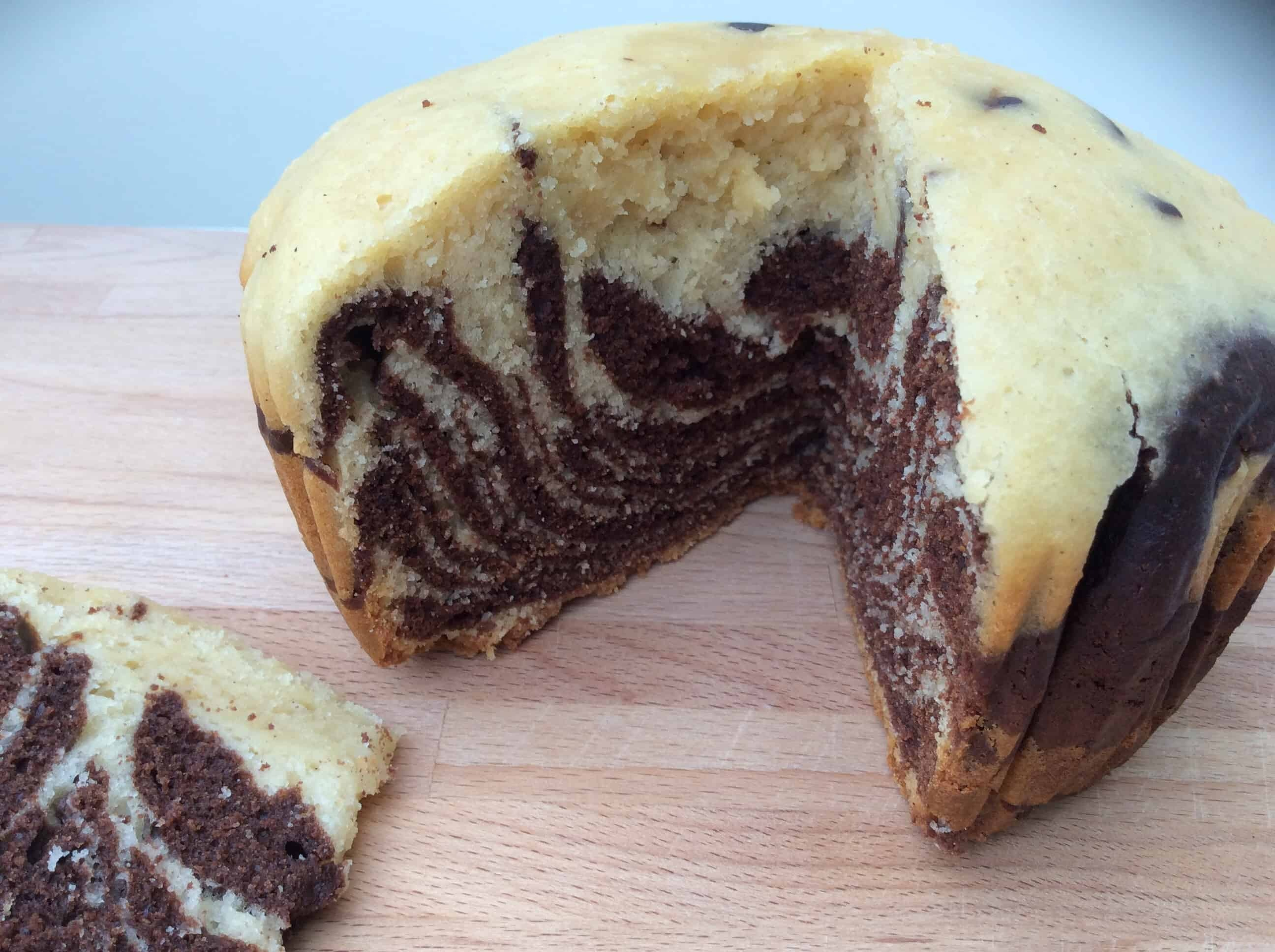 Slow Cooker Zebra-Striped Vanilla and Chocolate Cake