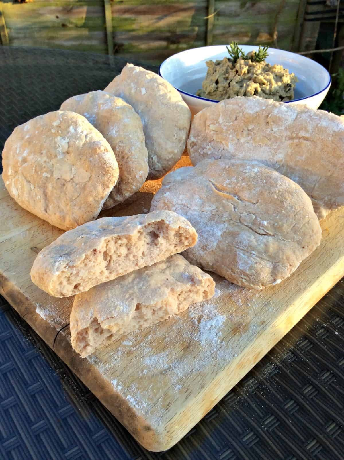 Gluten-free Pitta Breads and Olive Houmous