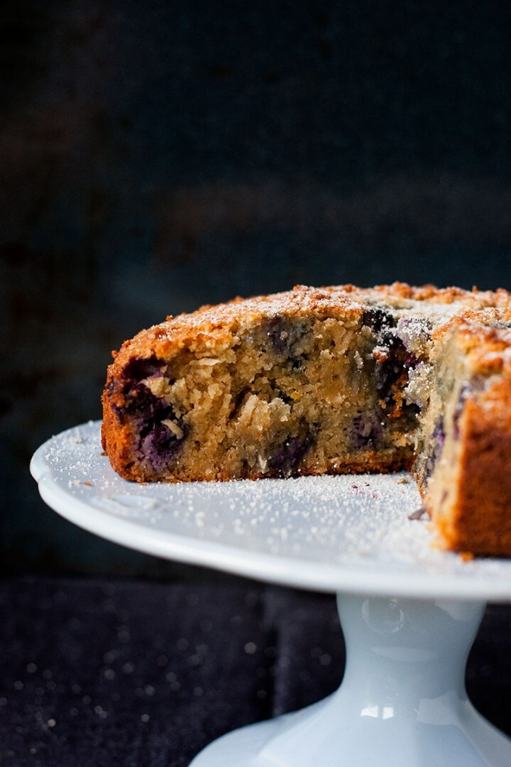 Gluten free blueberry, coconut and almond cake