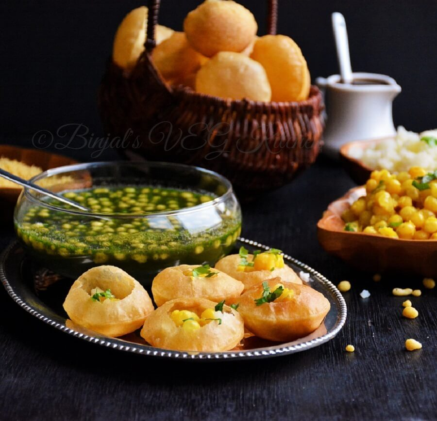 of different type pani puri water