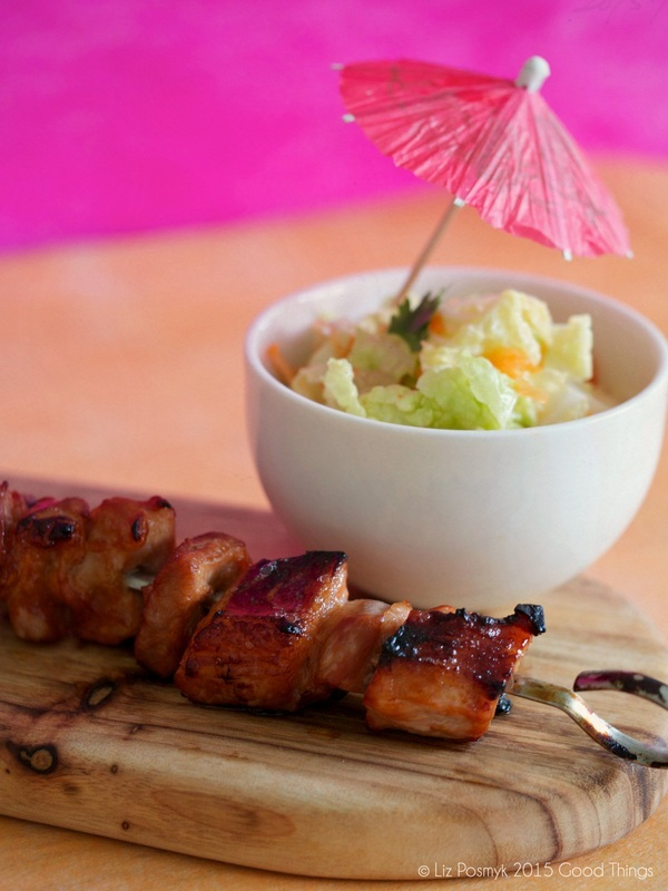 Filipino-style grilled pork belly with banana ketchup and wombok salad
