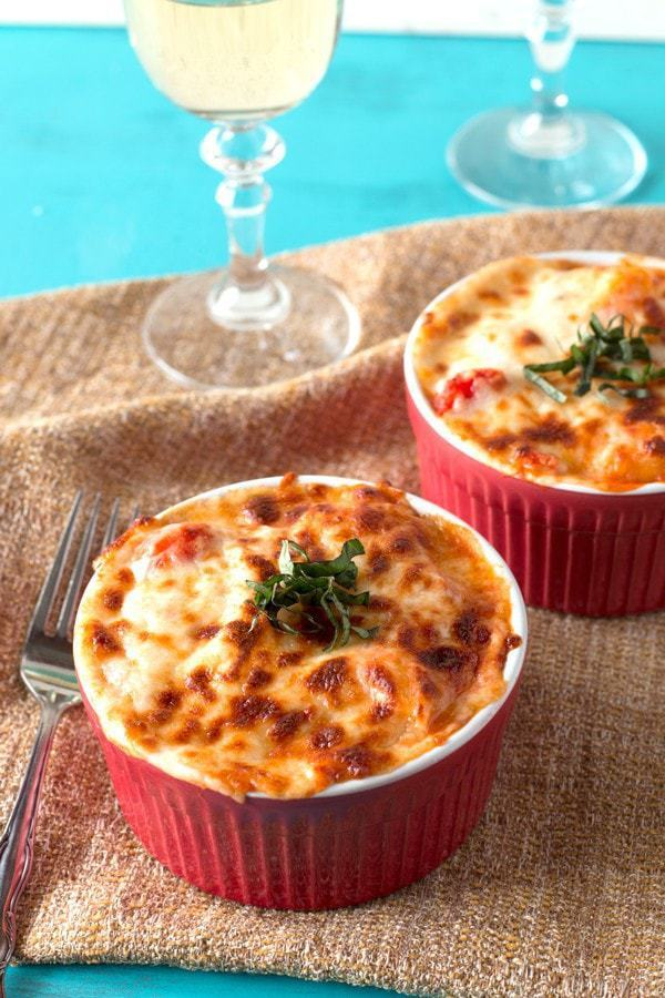 Baked Three Cheese Ricotta Gnocchi with Tomato Sauce
