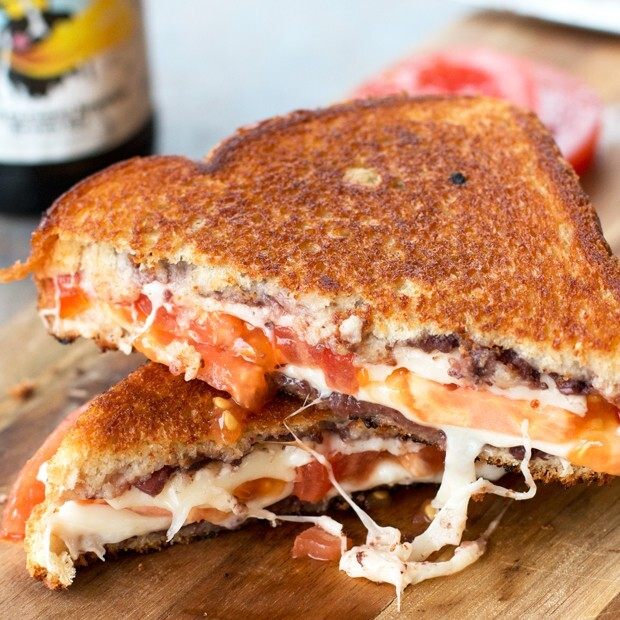 Tomato & Provolone Grilled Cheese with Kalamata Olive Chutney